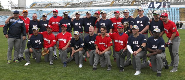 U.S. Army Soldiers face off against Romanian National Team in baseball game