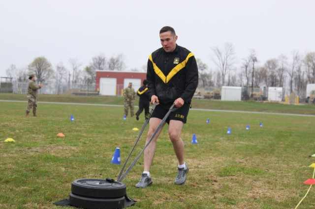 New York Army National Guard Sgt. First Class Martin Cozens, an infantryman assigned to Alpha Co., 2nd Battalion, 108th Infantry Regiment, 27th Infantry Brigade Combat Team, conducts the Sprint/Drag/Carry portion of the Army Combat Fitness Test, Center Strafford, NH, April 30. Cozens was competing in the Regional Best Warrior Competition for six states in the North East.
