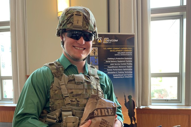 Daniel Campbell, a Holliston High School senior, said that he looks forward to the Army experience and the ability to defend the United States of America. The Our Community Salutes event, held April 27 at Northeastern University in Boston, encourages communities to recognize and honor high school students who plan to enlist upon graduation.