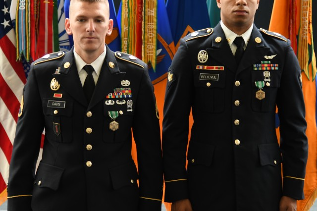 (From L to R): The 2019 USAACE and Fort Rucker Noncommissioned Officer Best Warrior of the Year for 2019 is Staff Sgt. Justin M. Davis, a medic for the Army Survival Evasion Resistance and Escape level C (SERE-C) training here. The 2019 USAACE and Fort Rucker Soldier Best Warrior of the Year is Spc. Joel A. Bellevue, an air traffic controller with 110th Aviation Brigade.
