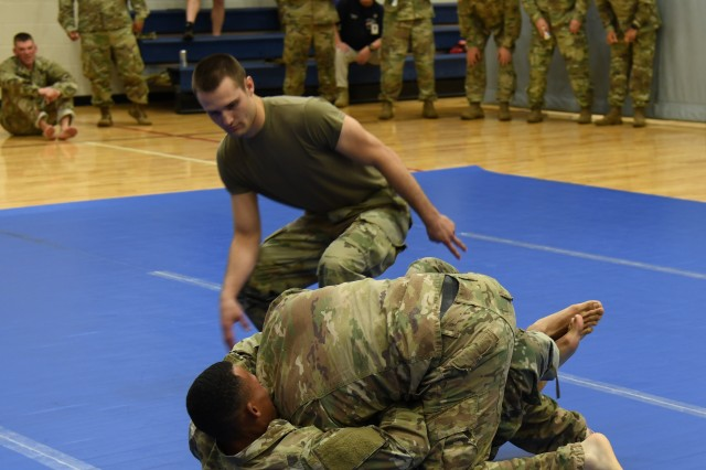 Soldiers take the competition to the mat at the Fortenberry-Colton Physical Fitness Center on Fort Rucker during the combatives portion of the U.S. Army Aviation Center of Excellence and Fort Rucker 2019 Best Warrior Competition May 9.