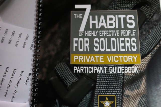 Seen here are interactive participant guidebooks issued to XVIII Airborne Corps Soldiers during the Strong Bonds Singles event in Fayetteville, N.C. Feb. 21, 2019. The guidebooks handed out to the single Soldiers were in direct correlation to a self-help book that focuses on creating habits to build an effective lifestyle. (U.S. Army photo by Pvt. Daniel J. Alkana / 22nd Mobile Public Affairs Detachment)