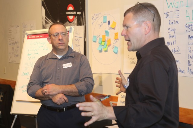 Chaplain (Lt. Col.) Steven W. Balmer (right), and Master Sgt. Neil Hertzler, a religious affairs noncommissioned officer, both assigned to XVIII Airborne Corps, discuss methods for effective habits to a group of Soldiers during the Strong Bonds Singles Retreat in Fayetteville, N.C., early 2019. The event, held quarterly, was for Soldiers to create a plan to become highly effective people. (U.S. Army photo by Pvt. Daniel J. Alkana / 22nd Mobile Public Affairs Detachment)