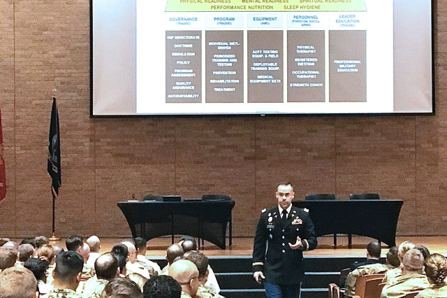 CPT Paul Rosbrook, Instructor, U.S. Military-Baylor Graduate Program in Nutrition, addresses an audience of over 500-allied health graduate students, faculty, and staff.  CPT Rosbrook presented on the Holistic Health & Fitness System (H2F) and its effects on allied health professions, future research, and clinical practice.