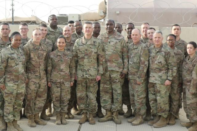 Maj. Gen. Bradley K. Dreyer, deputy chief of staff, G-8, U.S. Army Central, visits the 398th Finance Center at Camp Arifjan, Kuwait, March 16, 2019. (U.S. Army National Guard photo by Sgt. Connie Jones)