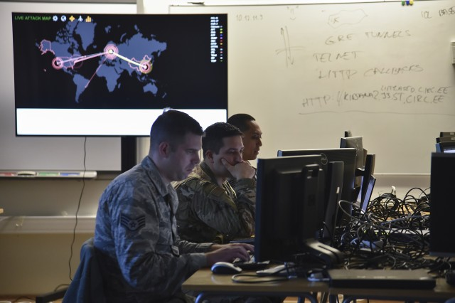 U.S. Air Force Staff Sgt. Andrew Custead, Capt. Thomas Paszek, and Staff Sgt. Edgar Castellano from the 175th Cyberspace Operations Group, Maryland Air National Guard, respond to cyber activity on Estonian networks during Spring Storm exercise, May 8, 2019, at the Cooperative Cyber Defense Center of Excellence in Tallinn, Estonia. This is the first time the Estonian Cyber Command has participated in the exercise since becoming operational in August 2018.