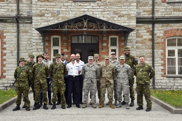Members from the 175th Cyberspace Operations Group, Maryland Air National Guard, the Estonian and French Cyber Command personnel, pose for a photo during the annual Spring Storm exercise, May 8, 2019, at the Cooperative Cyber Defense Center of Excellence in Tallinn, Estonia. This is the first time the Estonian Cyber Command has participated in the exercise since becoming operational in August 2018.
