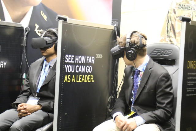 DECA student members experience the Army Decide to Lead exhibit during a recent DECA conference in Orlando.