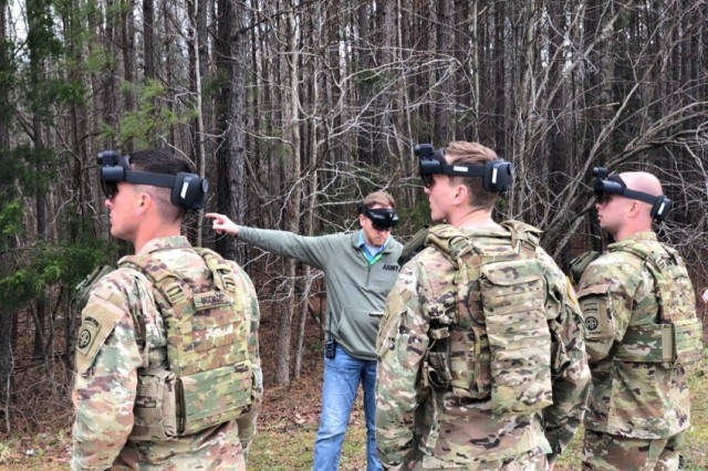 Soldiers use the Integrated Visual Augmentation System during a training session at Fort Pickett, Va. The Army plans to field the IVAS system by the end of fiscal year 2021.