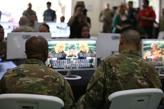Soldiers play Street Fighter V during the esports tournament at Camp Mabry, Texas.
