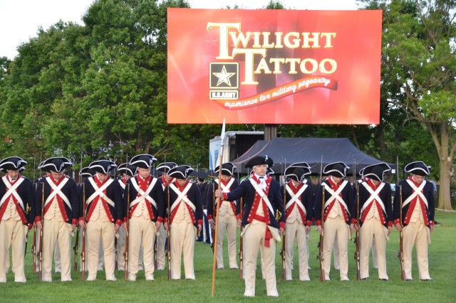 "On 9 May 2019, Lt. Gen Nadja Y. West, Army Surgeon General, and Army Medicine hosted the Twilight Tattoo at Fort Meyer in Virginia.  The Twilight Tattoo is a live military pageant featuring Soldiers from the 3rd U.S. Infantry Regiment—better known as The Old Guard—and ""Pershing's Own,"" the U.S. Army Band.  The performance takes guests through Army and American history, featuring Soldiers in period costume and on horseback and artillery and small arms fire.  Short vignettes of American heroes for each war bring sentiment and clarity to how Soldiers felt as they were in or about to enter battle. Performances by vocalists from The U.S. Army Band, The Old Guard Fife and Drum Corps, and The U.S. Army Drill Team were highlights of the evening."