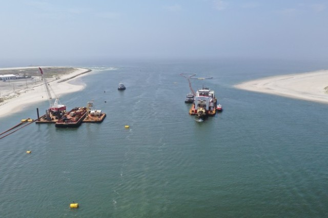 Sky shot of C.R. McCaskill Dredge conducting dredge operations inside East Rockaway Inlet.