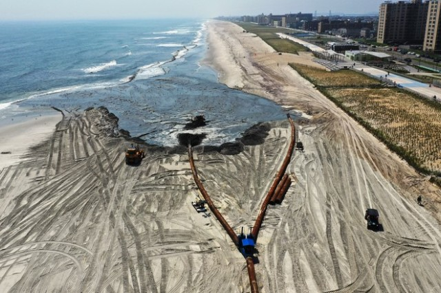 Sky shot of ongoing East Rockaway Inlet Dredging Project.