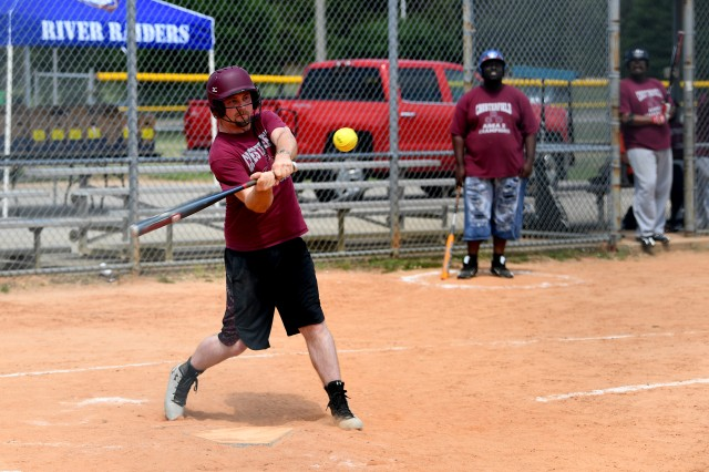 Charles Willis of Chesterfield, S.C., hits a home run during his softball game against the Greenville Bombers on Hilton Field May 11.