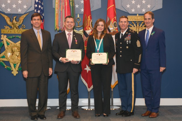 (Left to right) Secretary of the Army Mark T. Esper; William E. Mottley, Installation Management Command, Wiesbaden, Germany, SHARP program manager; Rachel J. Phillips, 66th Military Intelligence Brigade sexual assault response coordinator; Sgt. Maj. of the Army Daniel A. Dailey; and Dr. James A. Helis, director of the Army's SHARP, Ready and Resilient Directorate, following the Sexual Assault Awareness and Prevention Month Recognition Ceremony in the Hall of Heroes at the Pentagon, April 23.  Mottley and Phillips received the 2018 DoD Recognition for Advancing Primary Prevention award.