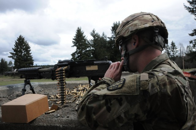 Spc. Broghan Enright, assigned to 7207th Medical Support Unit in Webster, New York, fired the M240 machine gun as part of the weapon familiarization event on April 16th.  Enright is one of fifteen Soldiers from Army Reserve Medical Command who arrived on April 13th, prepared to compete in the command-level Best Warrior Competition for 2019 held April 13-17 at Joint Base Lewis McChord, Washington. The Best Warrior Competition recognizes Soldiers who demonstrate commitment to the Army values, embody the Warrior Ethos and represent the force of the future.