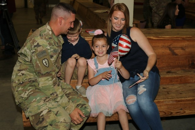 Army Materiel Command programs that help sustain families during Soldier deployments work toward ensuring a strong family unit both during separations and after reunions. Staff Sgt. William Voelcker, assigned to the 20th Engineer Brigade, XVIII Airborne Corps, Fort Bragg, N.C., and his family reconnect after his nine-month rotation during Operation Freedom's Sentinel, Inherent Resolve and Spartan Shield.