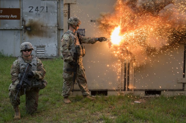 Soldiers demonstrate the Thermal Erosion Cutting Torch during MSSPIX May 9 at Fort Leonard Wood, Mo.