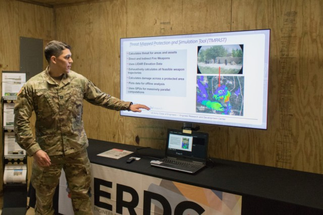 Capt. Samuel Carbajal explains the functionalities of the Threat-Mapped Protection Assessment and Simulation Tool during MSSPIX, May 9, at Fort Leonard Wood, Mo.