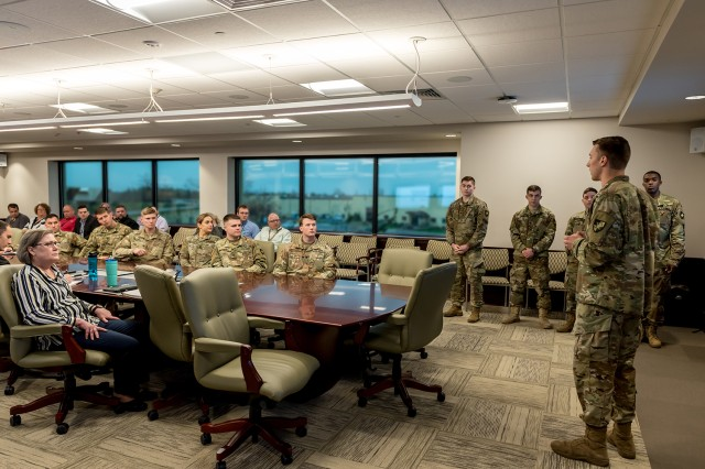 West Point cadets brief Tobyhanna Army Depot leadership on the Lean Six Sigma Black Belt projects they worked on during their senior year.  Employees and cadets joined forces to streamline processes in two Systems Integration and Support Directorate's divisions.
