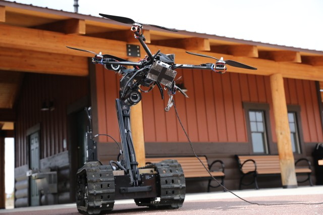 The QinetiQ Talon 5 robot was used to move a drone during Ravens Challenge training at Winter Park, Colo. May 7, 2019. Raven's Challenge is an annual series of events that provide Explosive Ordnance Disposal personnel and Public Safety Bomb Squads of both military and government agencies interoperability in a realistic, domestic, tactical environment.