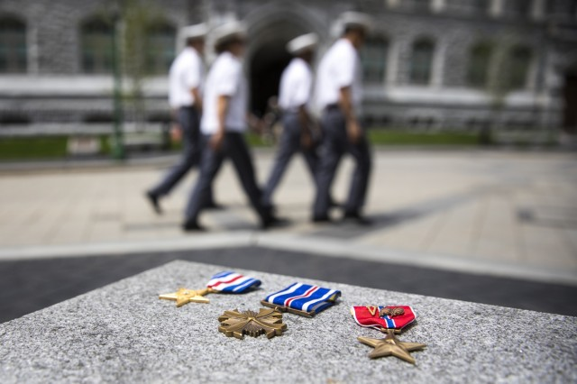 More than 40 members of West Point's staff and faculty have received formal awards for valor or heroism. These include the Silver Star, Distinguished Flying Cross, Bronze Star (with valor device) and others. Photo by Matthew Moeller/PAO