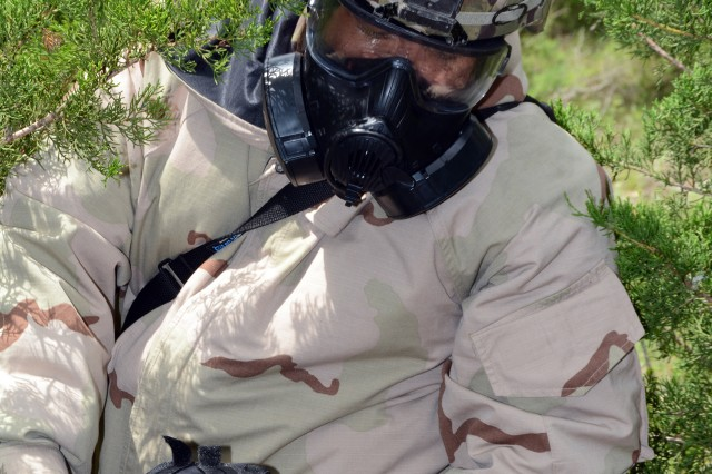 Chemical, Biological, Radiological, Nuclear, and Explosive (CBRNE) causality evacuation training at Camp Bullis, Tex.