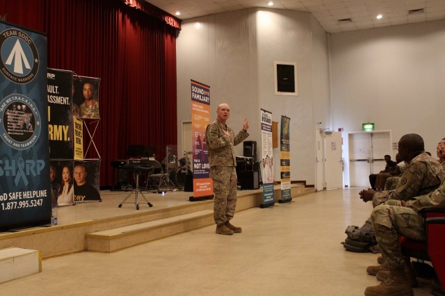 Col. Michael T. Moore, 595th Transportation Brigade commander, speaks to his Soldiers during a Sexual Harassment/Assault Response & Prevention (SHARP) Spoken Word event at Camp Arifjan, Kuwait, May 10, 2019. (U.S. Army photo by Claudia LaMantia)