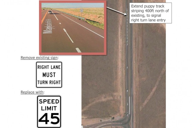 PETERSON AIR FORCE BASE, Colo. - Marksheffel Road, the road that accesses the east gate, hosts high-speed through traffic that regularly comes to a stop at the gate.  Extending markings for the right turn only lane on southbound Marksheffel Road should reduce sudden, high speed merges into the left lane. They will also be adding a new speed limit sign. (Courtesy Photo)
