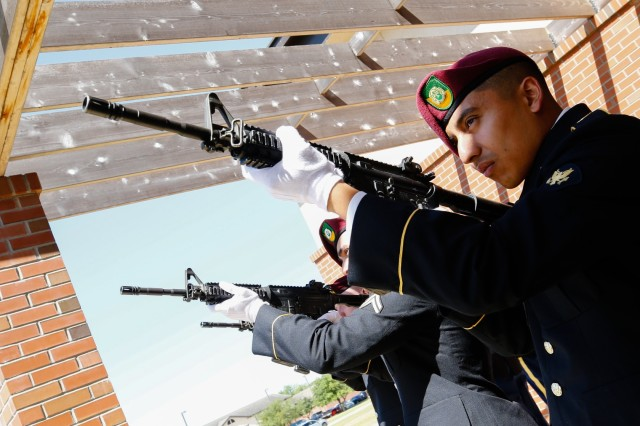 Spc. Aldier Ramirez, a Rialto, Calif., native and team leader with the 16th Military Police Brigade, performs a 21-gun salute with his team during the memorial service for Lt. Col. Christian D. Blevins at Fort Bragg, N.C., May 15, 2019. Blevins, formerly with Headquarters and Headquarters Battalion, XVIII Airborne Corps, served in the U.S. Military for 19 years. (U.S. Army photo by Pfc. Hubert D. Delany III / 22nd Mobile Public Affairs Detachment)