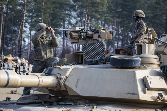 Second Lt. Tatiana Miranda (right), third platoon leader with Alpha Company, 2-34th Armored, prepares for tank gunnery at Grafenwoehr Training Area, Germany, March 19, 2019. Miranda is the first female officer in the 1st ABCT, 1st Infantry Division, to qualify with an Abrams tank. The Army plans to open up even more assignments for female officers this year t at Forts Stewart, Drum, Riley, Polk, and in Italy, according to G-1.
