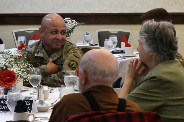 The Armed Forces Day Luncheon is an annual event that brings representatives from the business sector, elected and public officials, and invited guests together to get to know some of the service members who live and work in the community. The Greater Watertown North Country Chamber of Commerce hosted the luncheon May 17 to thank Soldiers from the 10th Mountain Division (LI) and Fort Drum for their service to the nation and the strong partnership between the military and civilian communities. (Photo by Mike Strasser, Fort Drum Garrison Public Affairs)