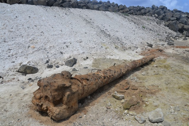 A Japanese 125mm Type 89 gun tube is just some of the items recovered from the shoreline on April 17. The excavation crews have removed approximately 2.5 million pounds of metal from the former dump with an additional 2 million pounds expected to be removed by September 2019 when the project is complete.