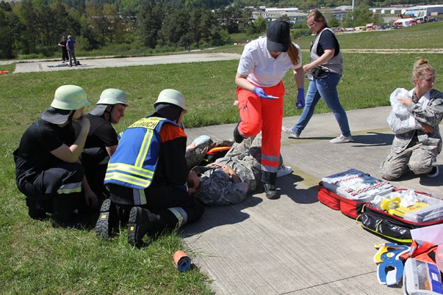 "German first emergency responders participate in ""Howling Wolf"" exercise May 18 at U.S. Army Garrison Bavaria -- Hohenfels."