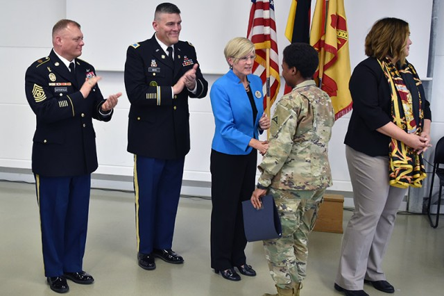 U.S. Army Garrison Bavaria's 2019 college graduates were recognized for their academic achievements at a graduation ceremony May 10 at Rose Barracks.