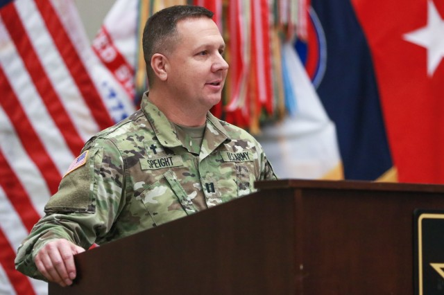 Chaplain (Capt.) Scott D. Speight, the deputy operations chaplain for U.S. Army Central, welcomes the audience during the National Day of Prayer luncheon at USARCENT headquarters on Shaw Air Force Base, S.C., May 2, 2019. (U.S. Army photo by Sgt. Von Marie Donato)