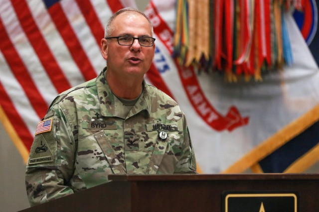 Chaplain (Col.) Joey T. Byrd, the command chaplain for U.S. Army Central, introduces the guest speaker during the National Day of Prayer luncheon at USARCENT headquarters on Shaw Air Force Base, S.C., May 2, 2019. (U.S. Army photo by Sgt. Von Marie Donato)