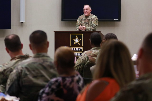 Chaplain (Col.) Jeffrey D. Hawkins, commandant for the U.S. Army Chaplain Center and School, provides his remarks as guest speaker during the National Day of Prayer luncheon at U.S. Army Central headquarters on Shaw Air Force Base, S.C., May 2, 2019. (U.S. Army photo by Sgt. Von Marie Donato)