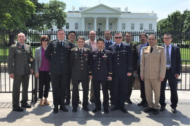 Officers from 13 partner nations spanning five continents visit the White House. They participate in the Security Assistance Liaison Officer program at the Security Assistance Command, New Cumberland, Pennsylvania.