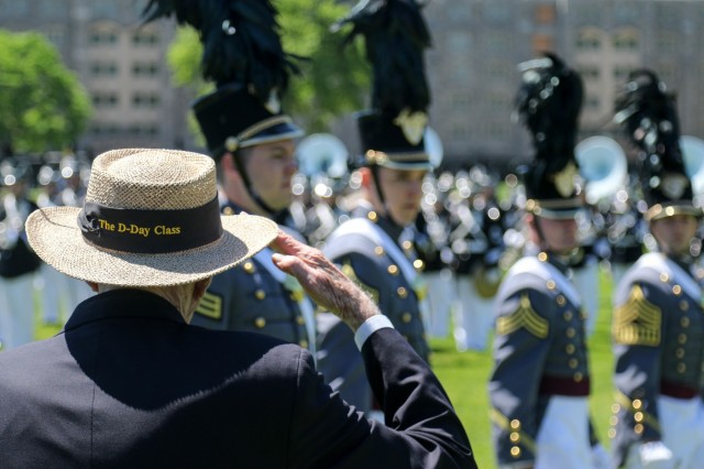 Alumni Wreath Laying Ceremony and Review at the U.S. Military Academy at West Point, May 21, 2019. The wreath was laid by retired Col. Doniphan Carter, USMA Class of 1944. During the review, retired Gen. David A. Bramlett. USMA Class of 1964, retired Col. Victor F. Garcia, USMA Class of 1968, retired Lt. Gen. Robert L. VanAntwerp, USMA Class of 1972, retired Gen. Walter L. Sharp, USMA Class of 1974 and retired Lt. Gen. Robert L. Caslen Jr., USMA Class of 1975, were honored as the 2019 Distinguished Graduates.