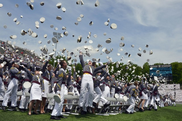 The U.S. Military Academy at West Point held its graduation and commissioning ceremony for the Class of 2018 at Michie Stadium in West Point, N.Y., May 26, 2018. Nine hundred and seventy-two cadets graduated, including 193 women, 105 African-Americans, 180 Asian/Pacific Islanders, 78 Hispanics and 16 Native Americans. Of this class, 152 attended the U. S. Military Academy Preparatory School, 12 are combat veterans and 11 are foreign-national cadets. In attendance were Chairman of the Joint Chiefs of Staff and commencement speaker General Joe Dunford, Secretary of the Army Mark T. Esper and Chief of Staff of the Army Gen. Mark A. Milley.  Each year, USMA graduates officers who are leaders of character committed to the values of Duty, Honor, Country.  (U.S. Army photo by Bryan Ilyankoff)