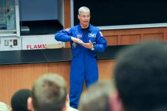 Astronaut speaks to cadets on his International Space Station experience