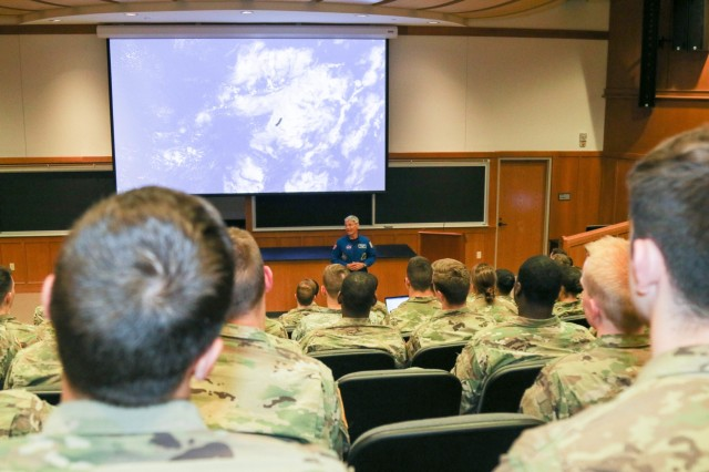 Cadets in the Physics and Nuclear Engineering Major attended a lecture with retired Col. Mark Vande Hei who served in expeditions 53 and 54 aboard the International Space Station from Sept.13-Feb. 28, 2018. Vande Hei spoke about his experience as an astronaut and his time aboard the ISS. (U.S. Army photo by Brandon O'Connor)