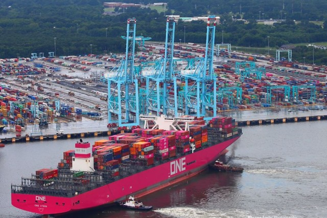 ONE Stork is 14,000 TEUs. The Port of Virginia is currently seeing at least two Ultra Large Container vessels, such as this one, each week in their International Terminals.