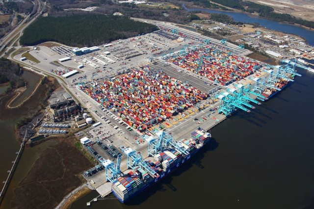 CMA CGM T Roosevelt is 14,414 TEUs. The Port of Virginia is currently seeing at least two Ultra Large Container vessels, such as this one, each week in their International Terminals.