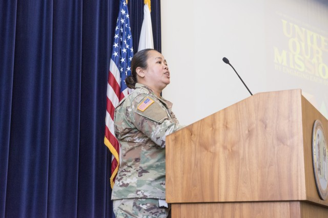 To commemorate Asian American Pacific Islander Heritage Month, the Combat Capabilities Development Command Soldier Center, or CCDC SC, hosted a special event in Hunter Auditorium, located at the Natick Soldier Systems Center, on May 21. Staff. Sgt. Charina Hocog (pictured here) read the presidential proclamation during the event and also provided a delicious sampling of Asian foods in the lobby after the event. Hocog works at the U.S. Army Research Institute of Environmental Medicine.