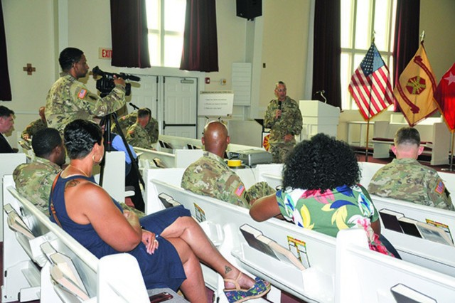 3rd Infantry Division Commander, Maj. Gen. Lee Quintas, led a follow-up Housing Town Hall at the Hunter Army Airfield's Chapel, May 21, to provide community members, an opportunity to learn about actions leadership took following Hunter's initial town hall Feb. 27.