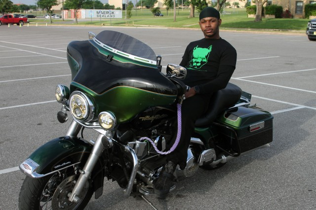 Sgt. Montez Irving, a Reserve Soldier attached to B Company, 2nd Battalion, 379th Regiment, 95th Adjutant General Battalion (Reception) , is his unit's motorcycle safety mentor, and he was the first rider to show up for the Freedom's Thunder Motorcycle Safety Rally May 17, 2019.