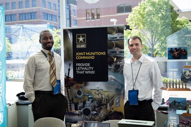 Joint Munitions Command experts hosted a booth to give small businesses more information about JMC's mission and industrial base during the 2019 Midwest Small Business Symposium held May 22-23 in Moline, Illinois. (Photo by Courtney Maxson, JMC Public Affairs)