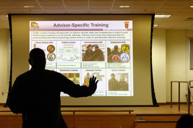 Lt. Col. Victor Scharstein, 4th SFAB Field Artillery Battalion commander Fort Carson, Colo., talks about training available, including language, cultural, and negotiation skills, during a briefing May 16, 2019 at Burleson Hall.